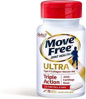 Move Free Ultra Triple Action Joint Supplement with Type II Collagen, Hyaluronic Acid, and Boron for Joint, Cartilage, and...