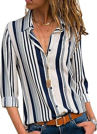 Blusa Mujer Casual De Rayas Camiseta De Gasa Camisa Mangaes Largas Elegante Colorido a Rayas Cuello V Camisas Tops
