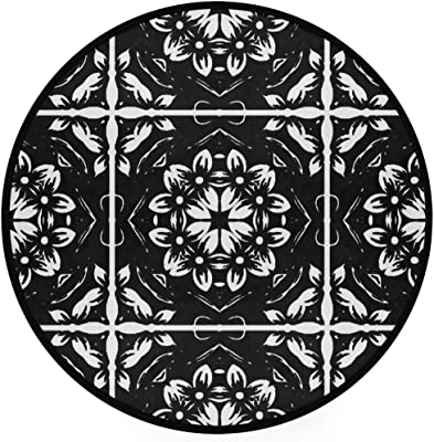 Kaleidoscope Mandala Art Area Rug Round Non-Slip Carpet Living Room Bedroom Bath Floor Mat Home Decor (3 Feet Round)