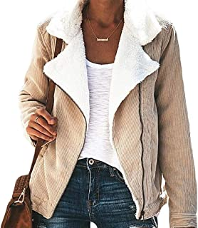 Women's Winter Warm Long Sleeve Casual Lapel Zip UP Thicken Corduroy Jacket Coat Outwear