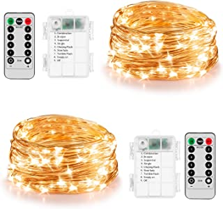 Koxly 2 Pack 20ft 60 Led Fairy Lights with Remote Timer Waterproof Christmas Decor Battery Operated Twinkle Firefly Lights...