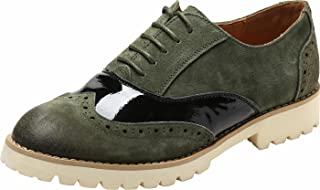 Ulite Womens Classic Perforated Suede Leather Lace-up Low Heel Oxfords, Comfortable Casual Walking Oxfords