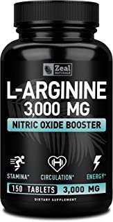 L Arginine 3000mg (150 Tablets | 1000mg) Maximum Dose L-Arginine Nitric Oxide Supplement for Muscle Growth, Pump Vasculari...