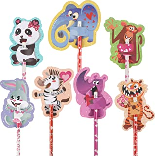 70 Pieces Valentine's Day Scratch and Sniff Pencil Toppers Cards Set for Kids 35 Valentines Cartoon Animals Scratch and Sn...