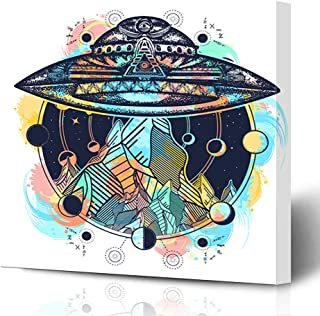 Ahawoso Canvas Prints Wall Art Printing 8x10 Watercolor Aliens UFO Ship Mountains Color Tattoo Parks Space Astrology Camping Fantasy Futuristic Painting Artwork Home Living Room Office Bedroom Dorm
