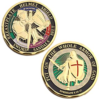 Put ON The Whole Armor of GOD Challenge Coin Collector's Medallion, Jewelry Quality
