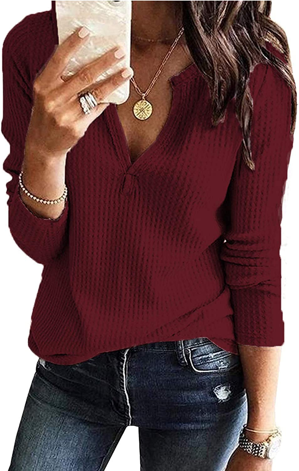 Hount Womens V Neck Waffle Sweater Tops Long Sleeve Casual Henley Shirts Loose Fit Pullover Tops