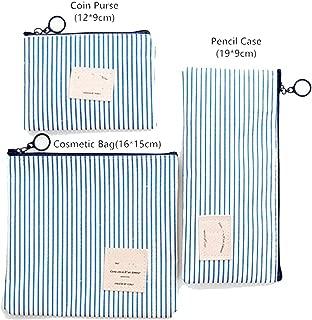 Travel Cosmetic Bag Women Zipper Makeup Bag Female Small Necessity Handbag Pencil Bags,Striped-Blue,Pencil Case