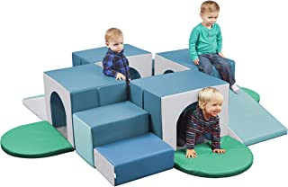 ECR4Kids SoftZone Four Tunnel Maze, Beginner Toddler Climber for Safe Active Play, Soft Indoor Obstacle Course for Kids, C...