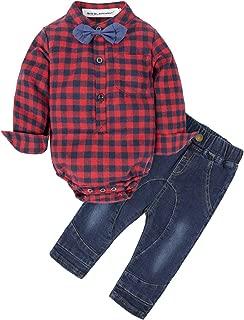 BIG ELEPHANT Baby Boys' 2 Piece Shirt Pants Clothing Set with Bowtie G24