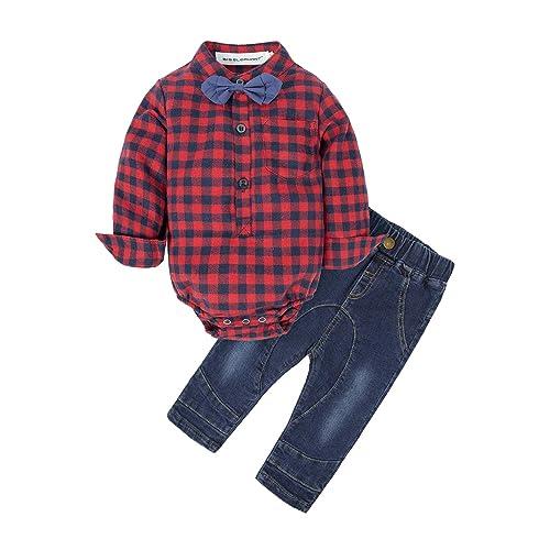 25a09b8f BIG ELEPHANT Baby Boys' 2 Piece Shirt Pants Clothing Set with Bowtie G24