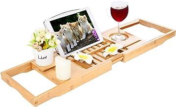 Bad Caddy Tray - Bamboe Bad Tray met Uitschuifbare Zijkanten, Leesrek, Tablet Houder, Mobiele Telefoon Lade Wijnglas Slot,...