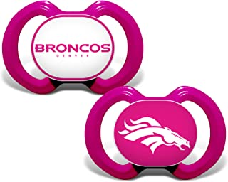 Baby Fanatic NFL Legacy Infant Pacifiers, Denver Broncos Pink, 2 Pack