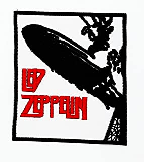 MNC Patch White Led Zeppelin Music Band Heavy Metal Punk Rock Logo iron on sew on patch Sign Badge Symbol Patch Iron on Applique Embroidered Jacket T shirt Costume