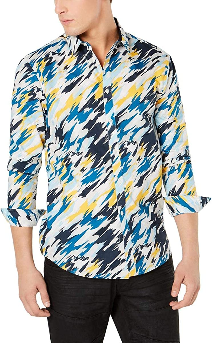 INC International Concepts Men's Long Sleeve Abstract Print Button Front Dress Shirts, Large, Blue Combo