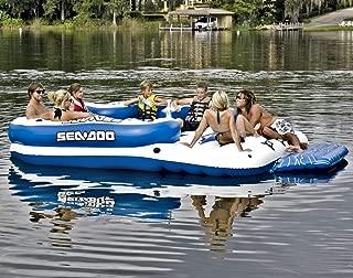 Sea-Doo 8 Person Inflatable Mega Island Lake Float W/ 4 Speaker Music System