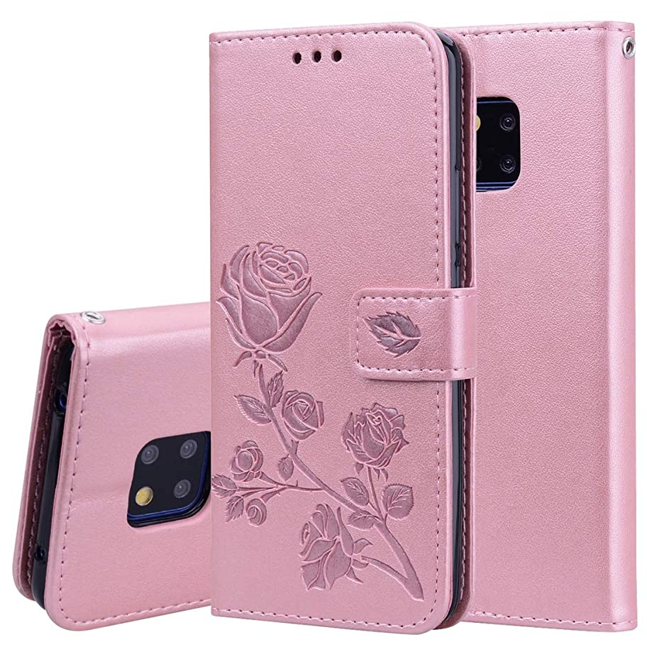 ラジエーター俳優ジャンクションWTYD 電話アクセサリー Huawei Mate 20 Pro用ローズエンボス水平フリップPUレザーケース、ホルダー&カードスロット&財布付き 電話使用 (Color : Rose Gold)