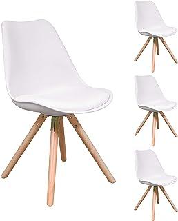 Homely - Pack de 4 sillas de Comedor Andy, Patas de Madera y Asiento Polipropileno (Blanco)