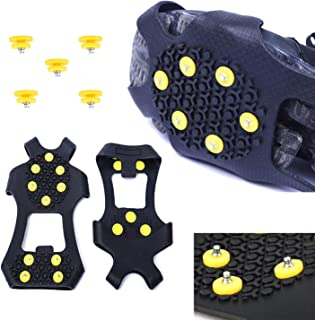 Wistar Hiking Cleats Ice Grippers Traction Ice Cleat and Tread for Snow & Ice Black Rubber Spike Shoes and Boots