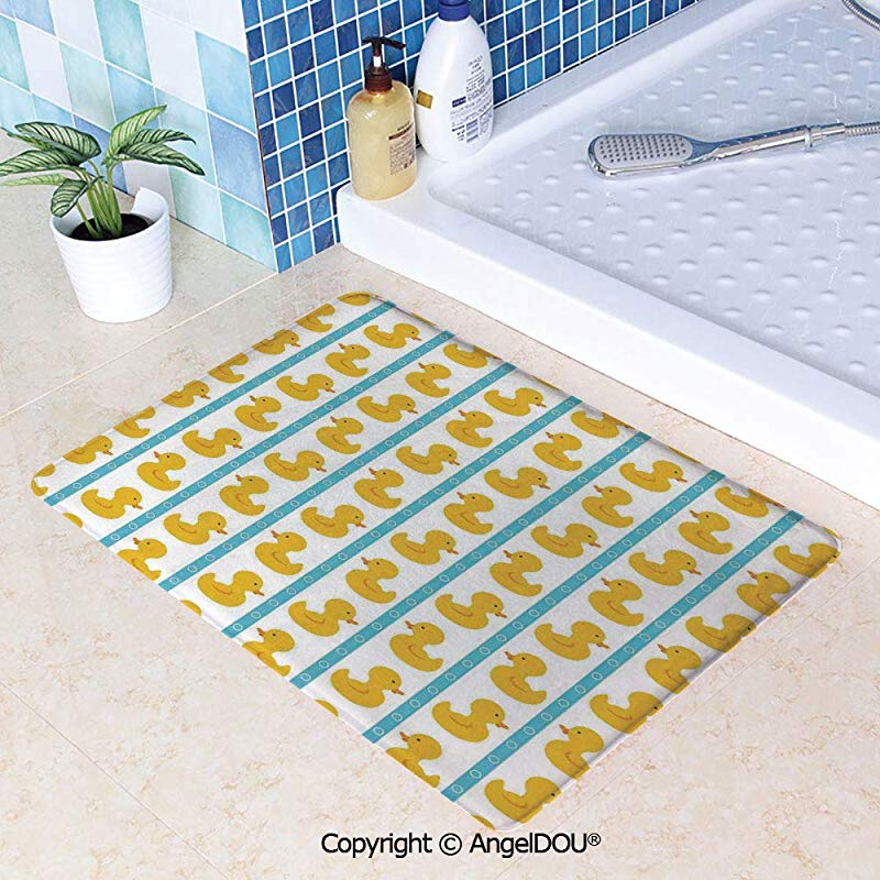 SCOXIXI Absorbent Super Cozy Rectangle Kitchen Bathroom Carpet Yellow Duckies With Blue Stripes And Small Circles Baby Nursery Play Toys Pattern Washable Porch Floor Mat Carpet W31 5xL47 2 Inch