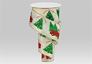 """Merry Christmas Truck with Trees Wired Edge Ribbon - 2.5"""" x 10 Yards (Ivory)"""