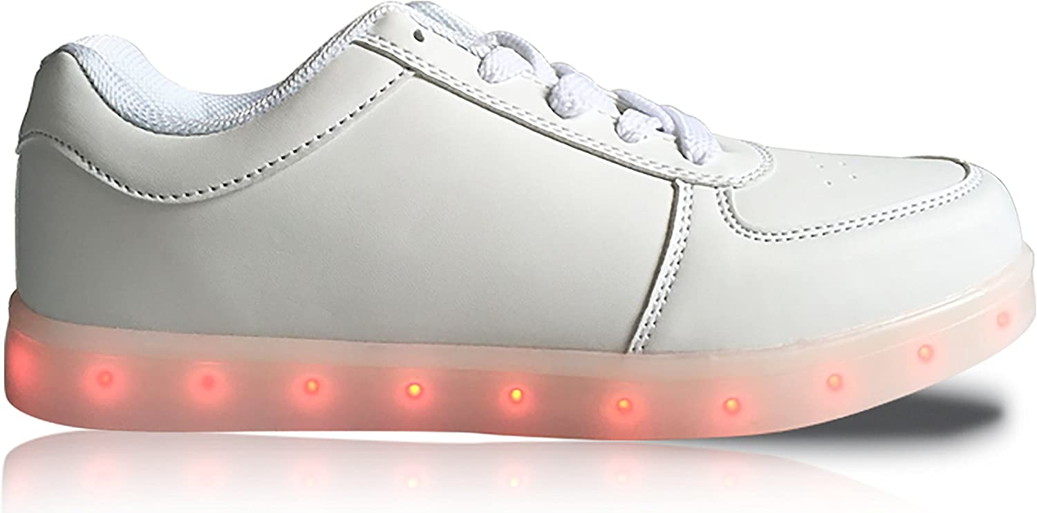 GleamKicks Unisex Classic Low Top Lace Up Women's Men's color Light LED Glowing Flat Sneaker shoes