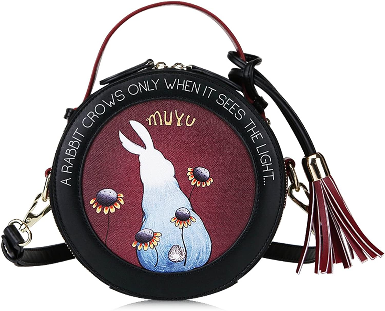 Muyu Rabbit Cartoon Hard PU Crossbody Bag with Adjustable Removeable Straps