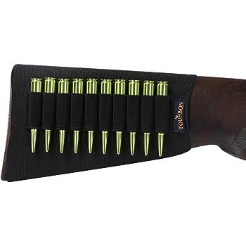 TOURBON Noir en n/éopr/ène /élastique Buttstock Fusil Cartouche Support pour 8/Ronde Snap Caps