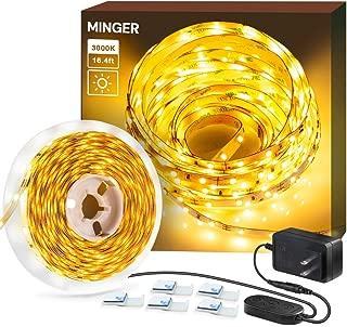 Dimmable LED Strip Lights,  MINGER 3000K Warm White 16.4ft Flexible LED Light Strip for Room Under Cabinet Christmas Lighting,  300 LEDs Tape Light with UL Listed Power Supply