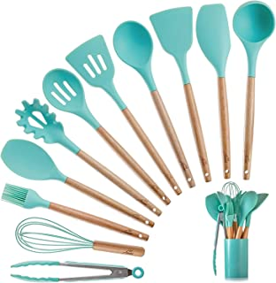 Silicone Kitchen Cooking Utensils Set with Wooden Bamboo Handles (11 Piece)   BONUS Cup   Durable Cookware Tools   BPA-Fre...