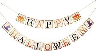Zotemo Vintage Happy Halloween Bunting Banner with Pumpkin and Witch Hat Sign, Hanging Garland for Halloween Themed Home and Party Decorations