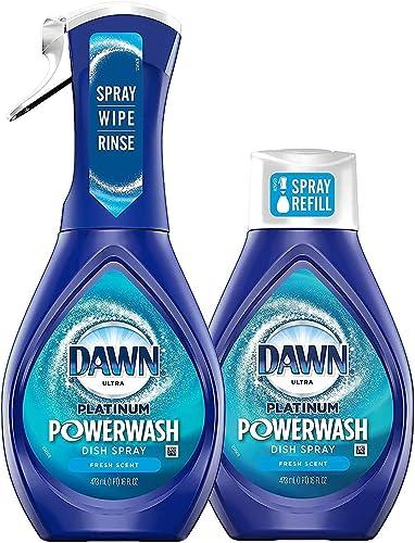 Dawn Platinum Powerwash Dish Spray Starter Kit, Dish Soap, Fresh Scent Bundle, 1 Starter Kit plus 1 Refill (16 fl oz ea)