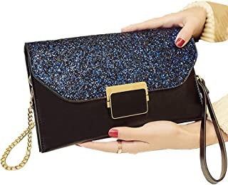 ALAIX Womens Formal Clutch Evening Purse Envelope Rhinestone Handbag with Wristlet Shoulder Chain