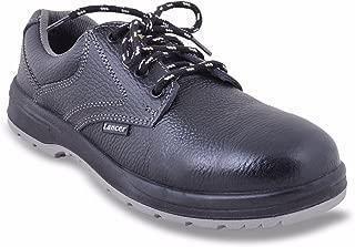 Lancer 202DD Men's Double Density Safety Shoe with Steel Toe Cap, Size-9 UK, Black