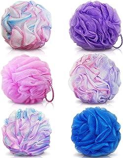 BEAUTRISTRO Round Bath Sponge Loofah/Scrub for Women and Men (Random Colour) -Set of 6