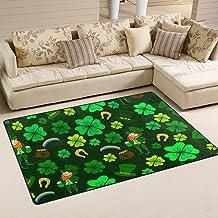 Doormat St.Patricks Shamrock Clover 60x39 inch Welcome Holiday Floormat, Leprechaun Gold Coin Hat Outdoor Indoor Non Slip ...