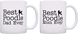 Dog Lover Gift Best Poodle Mom Dad Ever Puppy Supplies Bundle 2 Pack Gift Coffee Mugs Tea Cups White