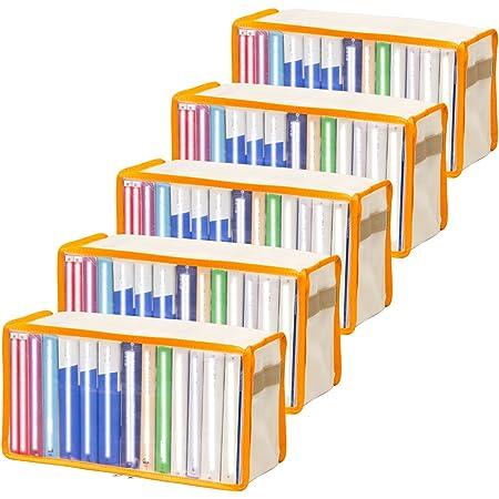 アストロ 本収納ケース 5枚組 オレンジ 不織布製 文庫本 収納 609-01