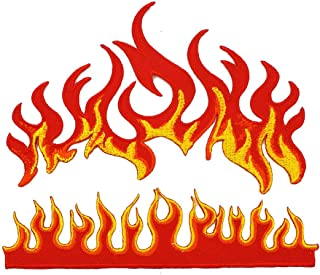 Flames Fire Biker Motorcycle Racing Hot Fireball Tattoo Heavy Metal Car Applique Embroidered Iron On Patch