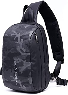 LC Prime Sling Bag, Casual Chest Pack with USB Charging Port, Tiny Compact Shoulder Backpack, Water Resistant Rucksack for Men Women Outdoor Travel Day Trip, fit 10 Inch Tablet PC