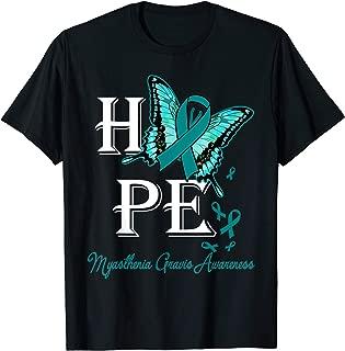 Women Hope Butterfly Myasthenia Gravis Awareness Teal Ribbon T-Shirt