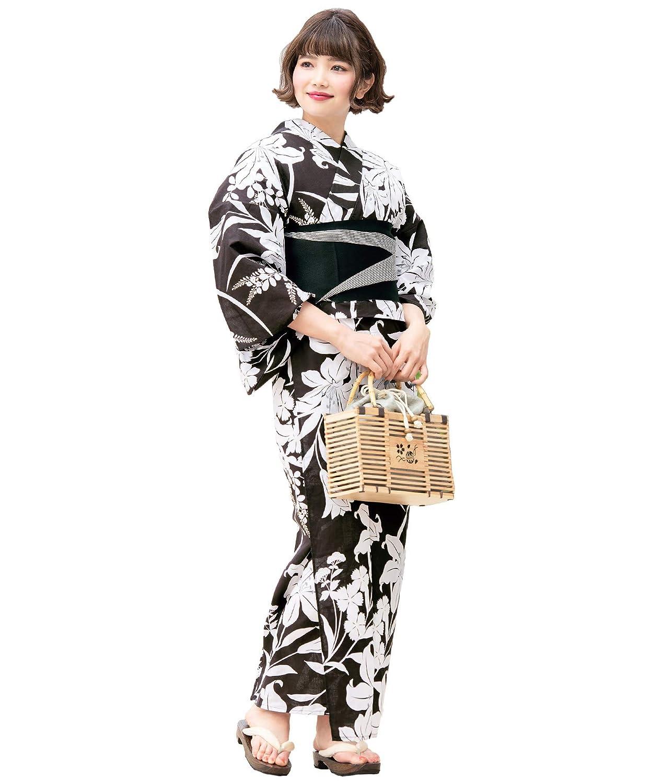 (ソウビエン)レディース浴衣セット 黒紫系 ブラックパープル 百合 ユリ 萩 綿 女性 花火大会