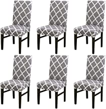 House of Quirk Elastic Chair Cover Stretch Removable Washable Short Dining Chair Cover Protector Seat Slipcover - Grey Diamond(Pack of 6)