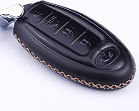 Cadtealir Calfskin Genuine Leather 2000-2018 Infiniti Infinity g35 qx56 fx35 q50 g37 m35 qx60 i35 qx80 q60 qx30 Key fob Cover case Holder only for 5 Buttons (4 Buttons)