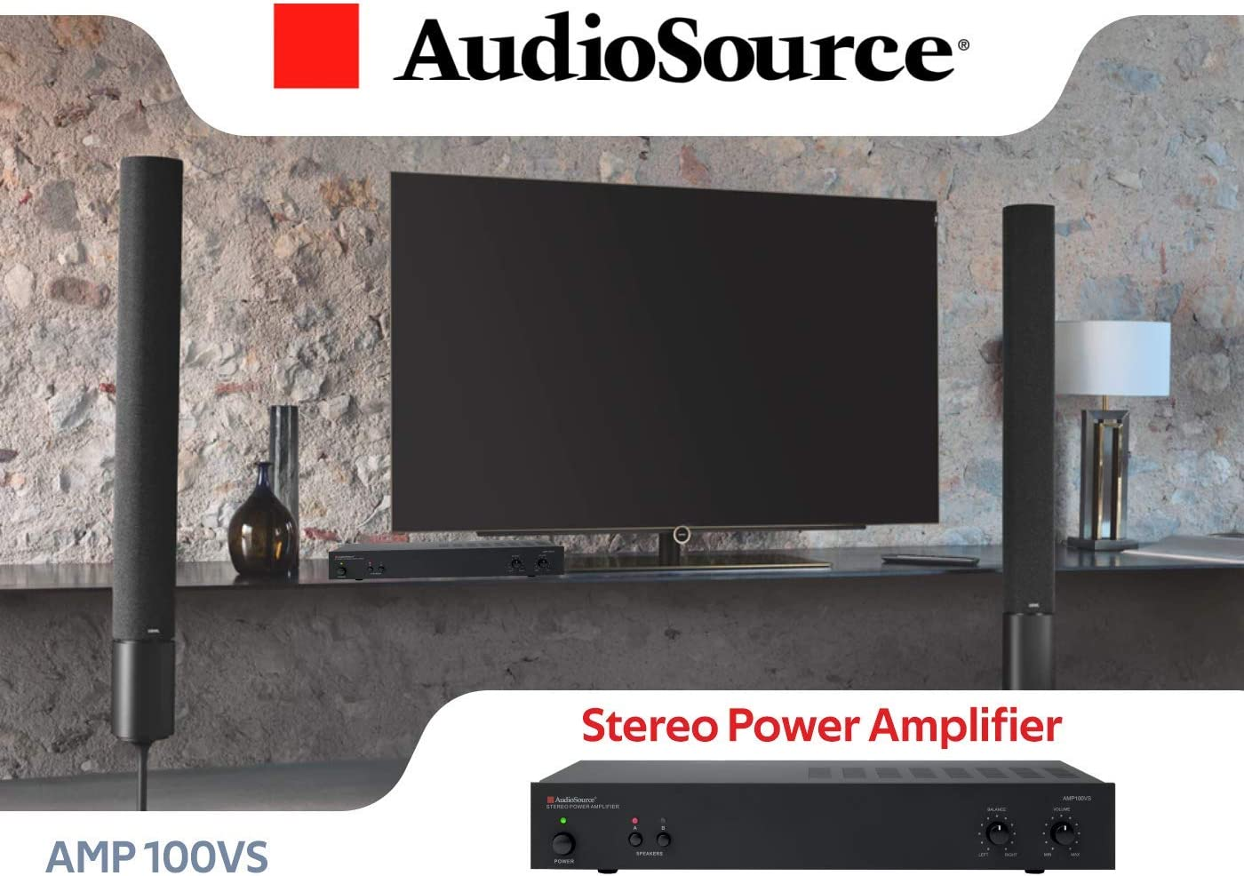 Stereo Power A Amplifier AMP100VS for Home Sound Systems AudioSource Analog Amplifier