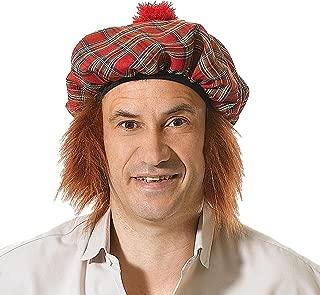 Adult Fancy Dress Headwear Tam O Shanter Scottish Ginger Hair Scots Tartan Hat