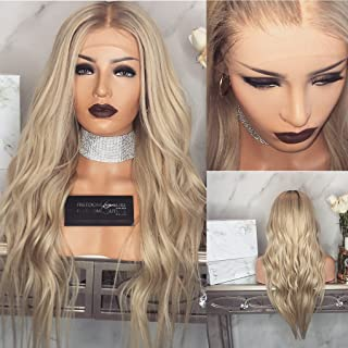 Remy Human Hair Ombre Gold Lace Front And Full Lace Wigs Glueless Hair Natural Wave Style with Baby Hair 150% density by KRN Carina Hair (20inch, lace front wig)