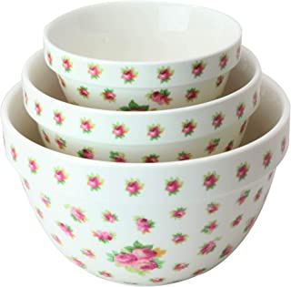 Pantry Size 3-Pc Nested Porcelain Mixing Bowl Set by Grace Teaware. Microwave Safe, Freezer Safe. 3-Sizes 42, 22 and 10-Ounce. (Rose Bud)