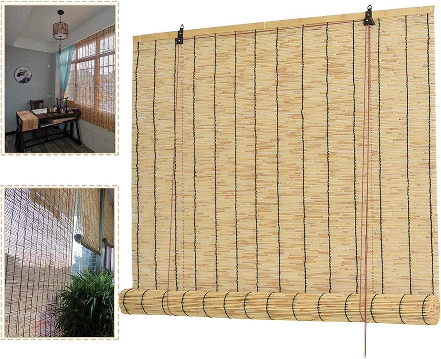 YAO TIAN Roll up High order Max 84% OFF Blind Indoor Shades Roller Bamboo Reed Natural