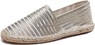 Espadrilles pour Hommes Mode Rayures fluorescentes sans Lacet Chaussures décontractées Basses Chaussures Plates en Toile l...
